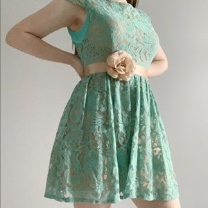 teal and gold cap sleeve dress w/ flower